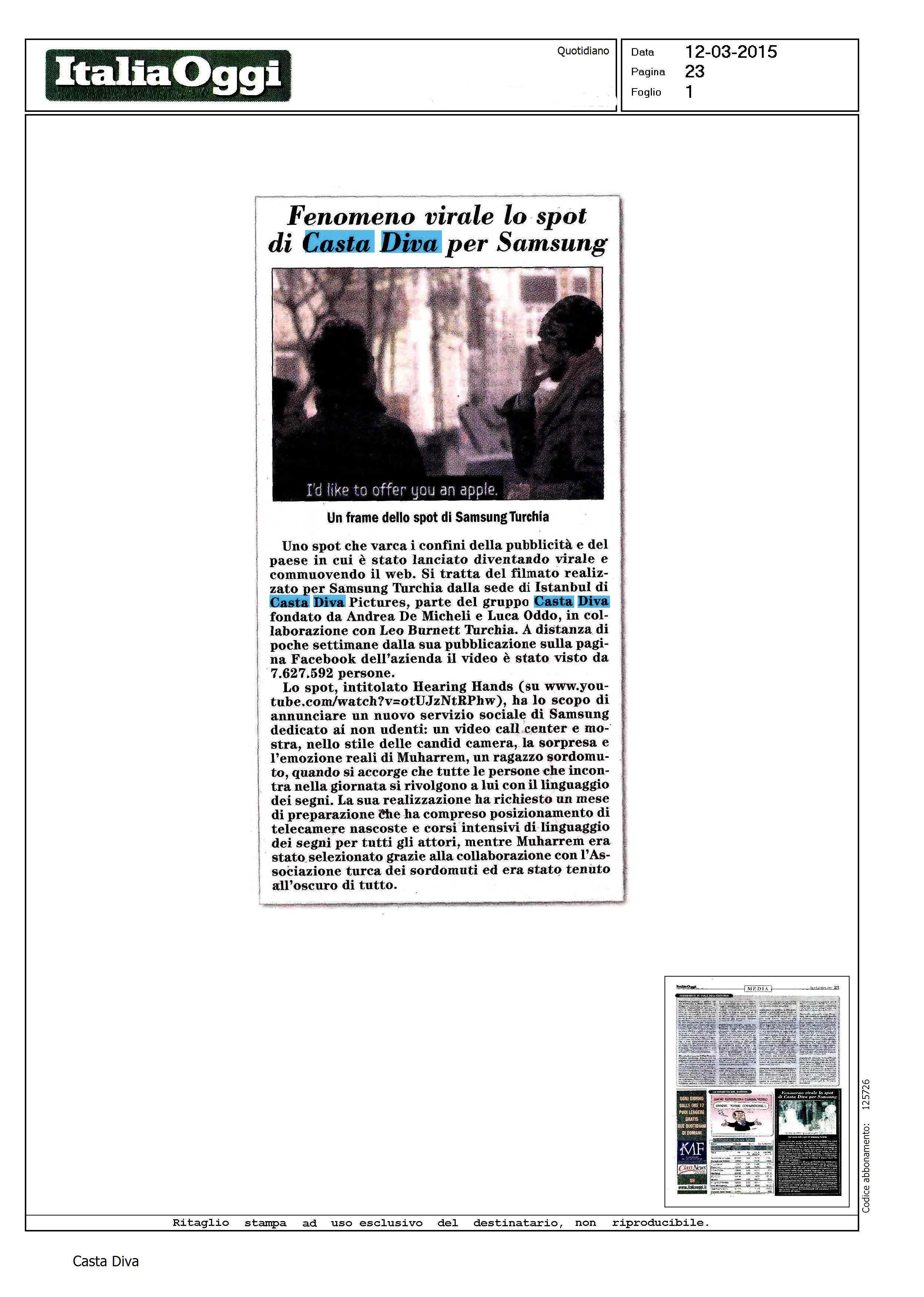 Fenomeno virale lo spot di casta diva per samsung italia oggi casta diva group - Casta diva group ...