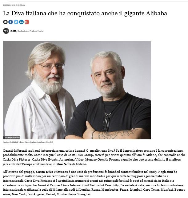 La diva italiana conquista il gigante alibaba casta diva group - Casta diva group ...